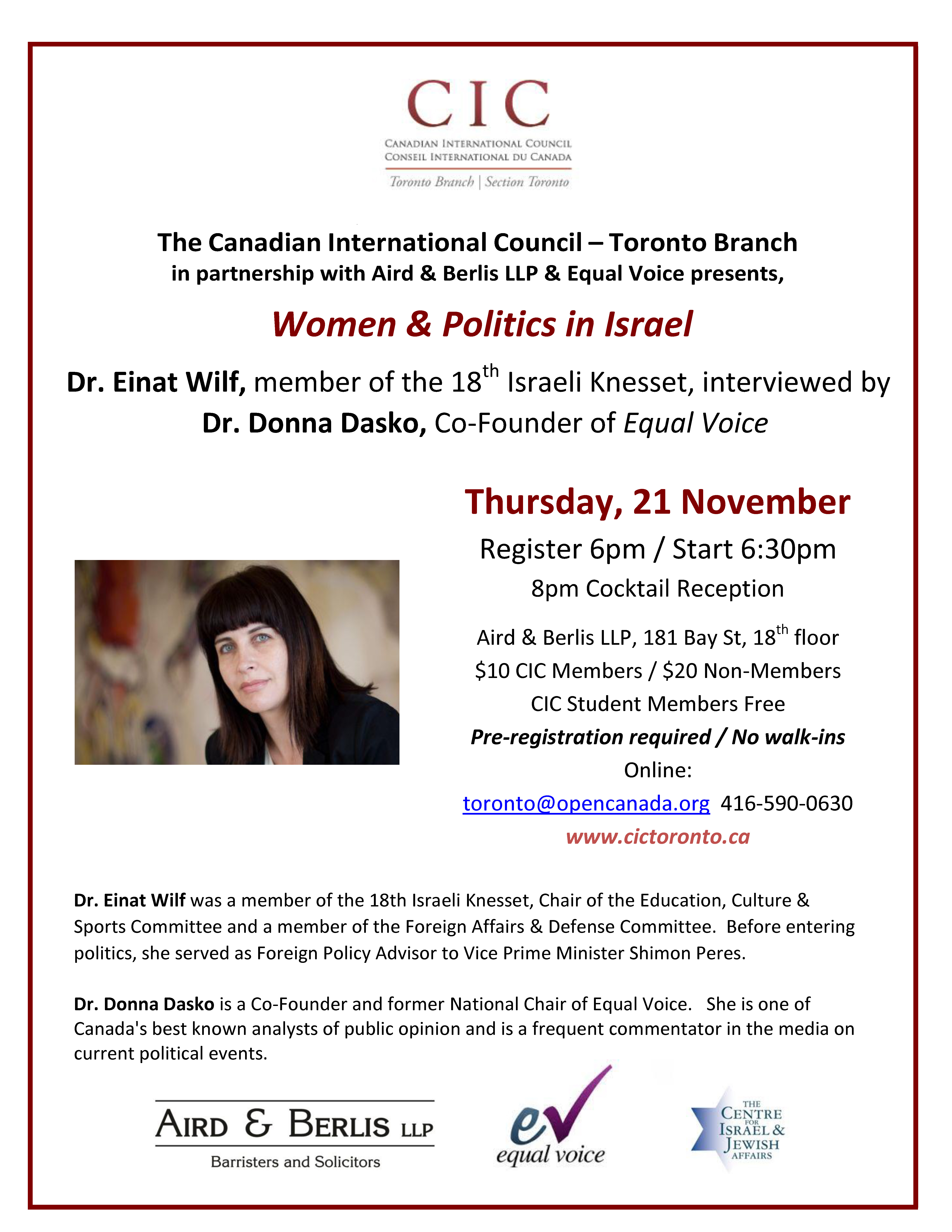 Flyer for 21 November Women & Politics in Israel FINAL for distribution[2]